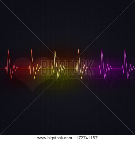 Multicolor Heart Cardiogram
