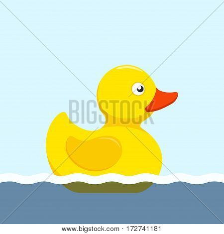 Rubber duck bath toy swimming in the water in flat style isolated on white background. Vector illustration