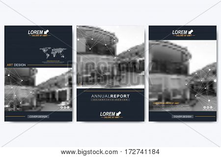 Modern vector template for brochure, leaflet, flyer, cover, magazine or annual report. Layout in A4 size. Business, science and technology design book layout. Urban blurred background presentation