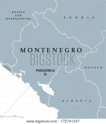 Montenegro political map with capital Podgorica and neighbor countries. Sovereign state in Southeastern Europe on Balkan Peninsula. Gray illustration with English labeling on white background. Vector