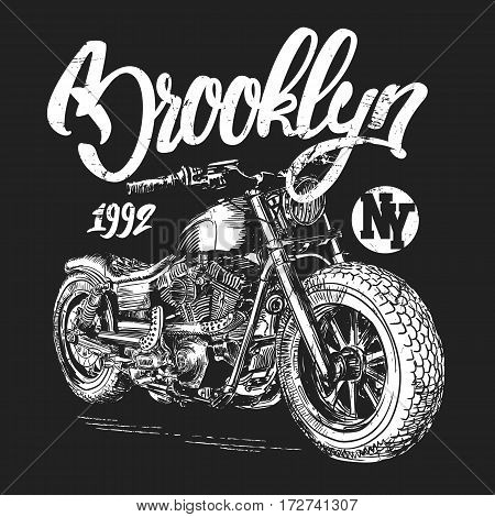 brooklyn motorcycle t-shirt graphic design vector illustration