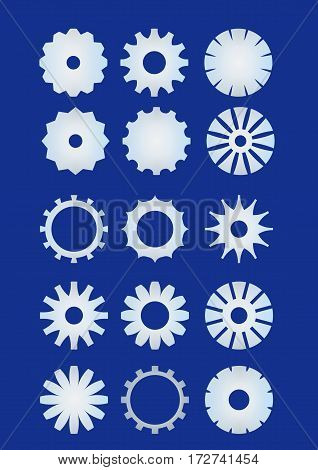Cogwheel set sprocket wheel collection in metal material. Techno design elements. Infographic teamwork symbol