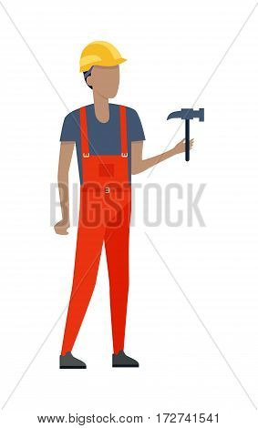 Cartoon man wearing red special clothes, yellow helmet and dark blue t-shirt. Male person holding in one hand metal hammer. Builder worker. Simple style. Flat design. Vector illustration