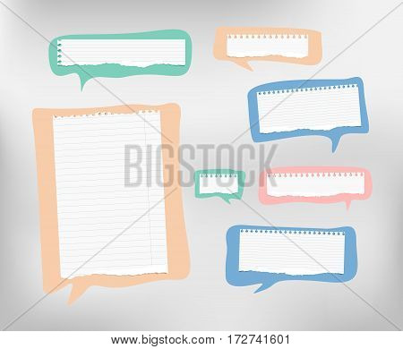 Pieces of ripped ruled white note, copybook, notebook paper are on colorful speech bubbles.