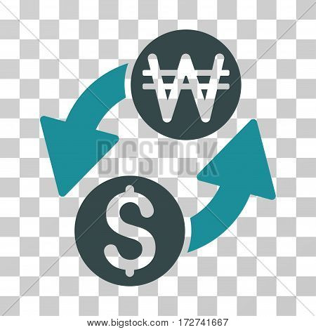 Dollar Korean Won Exchange icon. Vector illustration style is flat iconic bicolor symbol, soft blue colors, transparent background. Designed for web and software interfaces.