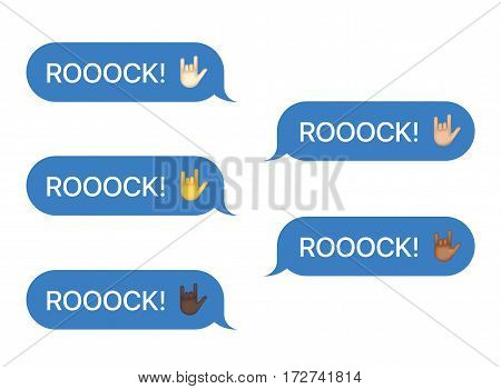 Set of SMS bubbles messages with dialog words and emoji. Vector illustration. Rock word and greeting gesture