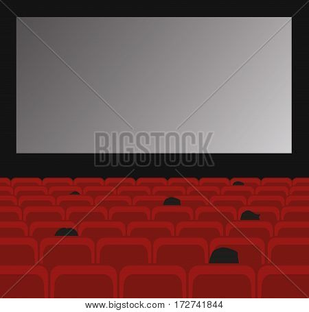 Cinema auditorium with screen, red seats and people watching movie.