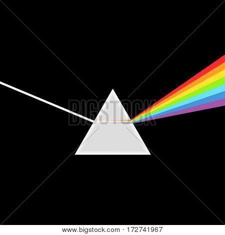 Triangular Prism breaks white light ray into rainbow spectral colors. Dispersive prism, physics