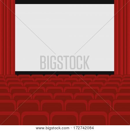 Cinema auditorium with screen and red seats. Vector.