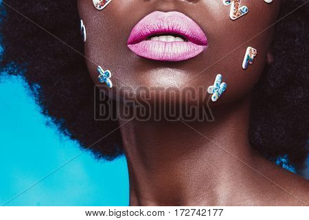 Shooting, hairstyle, haircut, lips, african american model portrait color colorful closeup blue letter
