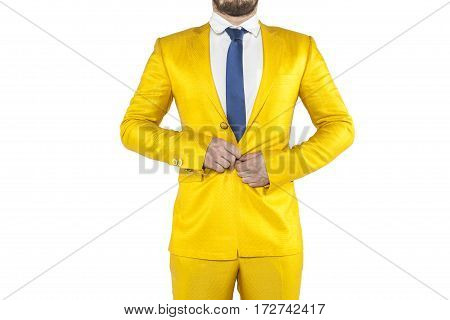 Businessman With Stress Buttons Buttoned Jacket