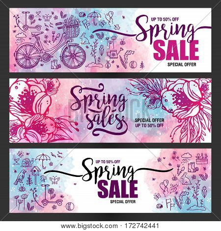 set of posters Spring sales, set of icons and symbols with bike on a watercolor background, flowers, flyer templates with lettering. Typography card, banner design element. Vector illustration