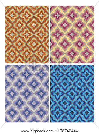 Geometric patterns in retro nostalgic colors. Set of seamless patterns in vintage style.
