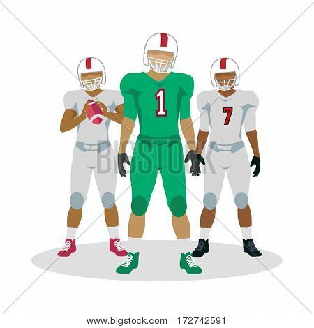 American football. Football players with ball in hands in equipment and helmet. White and green football equipment. Sport team game. Cartoon icons of football players. American football sign. Vector