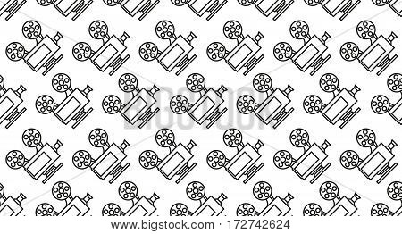 Movie seamless pattern with cinema camera projector