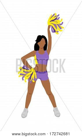 Cheerleader girl. Cheerleading pompoms. Dancing to support football team during competition. Violet and yellow cheerleader uniform. High school cheerleading costume. Figure of young girl. Vector