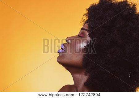 Shooting, hairstyle, haircut, lips, african american model portrait color colorful closeup yellow violet
