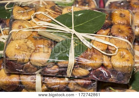 Dried figs in cellophane as a gift package