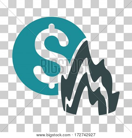 Fire Disaster Price icon. Vector illustration style is flat iconic bicolor symbol, soft blue colors, transparent background. Designed for web and software interfaces.