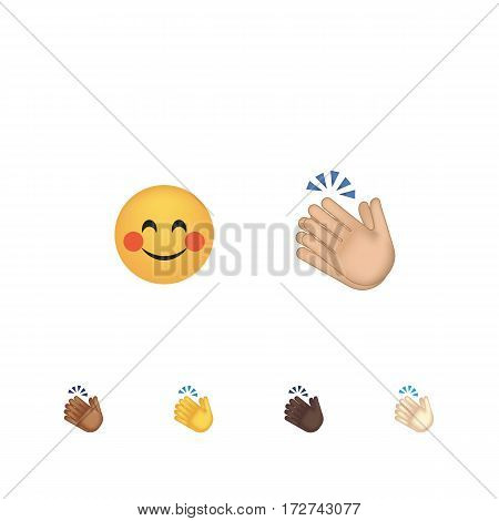 Set of hand emoticon vector isolated on white background. Gestures emoji vector. Smile icon set. Emoticon icon web. Applause gesture