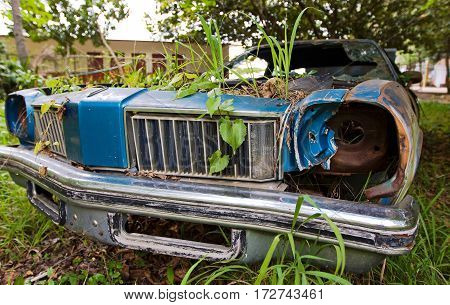 A rusty body of an old American car is overgrown by grass.