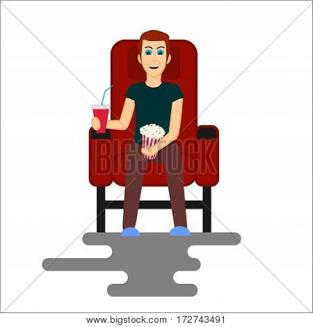 Young man watching movie in the Cinema. Vector Illustration isolated on white background