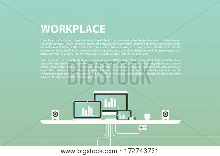 Vector illustration in flat design. Office interior in monotone minimalistic style. Web banner and presentations template.