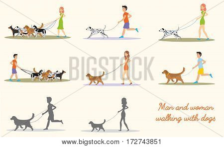 Man and women and in casual clothes walking the dogs of different breeds. Set of vector illustrations