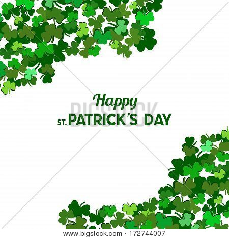 St Patrick's Day Vector Background With Shamrock. Lucky Spring Symbol. Clover In Green Shades Isolat