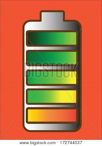 Type AA battery with colorful charge level, gradient, red background, vector