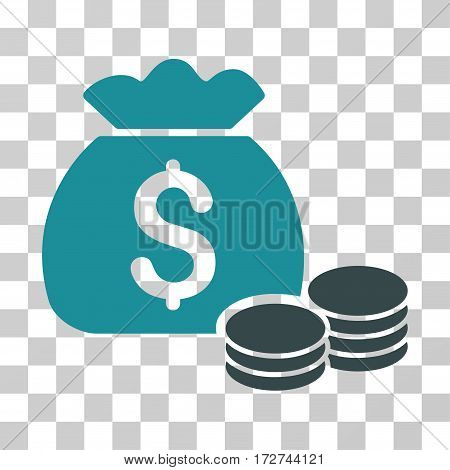 Money Bag icon. Vector illustration style is flat iconic bicolor symbol, soft blue colors, transparent background. Designed for web and software interfaces.