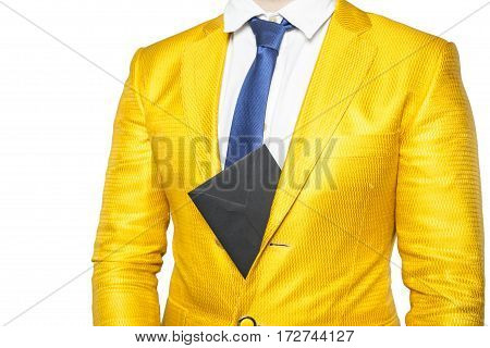 Envelope Sticking Out From Behind The Businessman Jacket