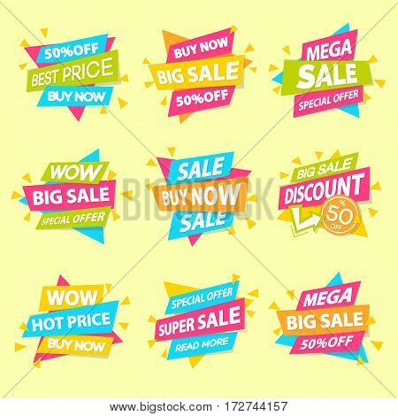 Set of sale sticker special offer, advertisement tag, sale, big sale, mega sale, hot price, discount poster isolated on yellow background. Vector Illustration