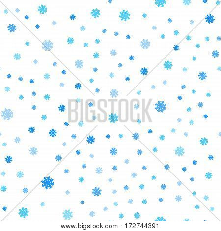 Snowflakes seamless pattern. Falling different size snowflakes on white. Winter holidays season. Wrapping paper, greeting cards, invitations, web pages design. Fabric textile, print material. Vector