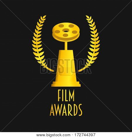Film awards festival vector symbol or badge illustration. Gold on dark backgrond