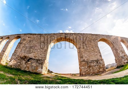 Kamares, Medieval Aqueduct near city of Larnaca, Cyprus.