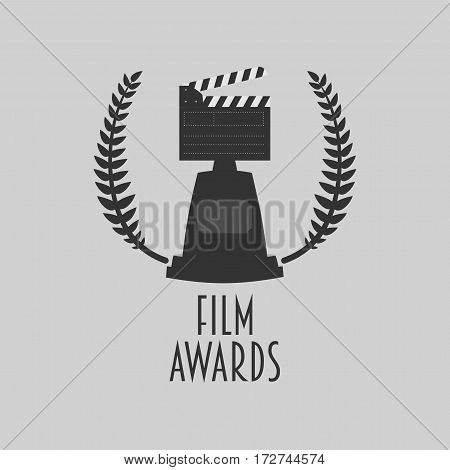 Film awards festival vector symbol or badge illustration with clapboard