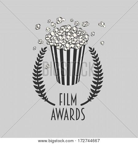 Film awards festival vector symbol or badge illustration with popcorn