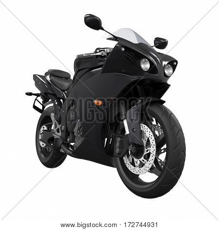 Black Motorcycle isolated on white background. 3D render