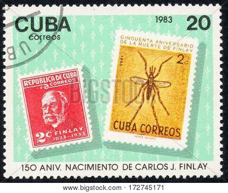UKRAINE - CIRCA 2017: A stamp printed in Cuba shows a 150 anniversary nacimiento de Carlos J. Finlay circa 1983