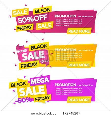 Set of black friday sale promotion banners template. Set of black friday sale banners with different sign such as super sale, mega sale. Vector Illustration