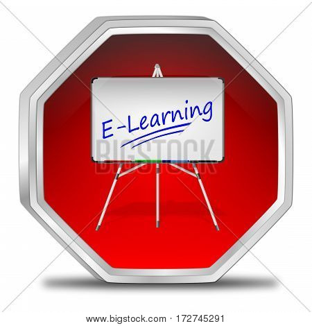 decorative red E-Learning Button - 3D illustration