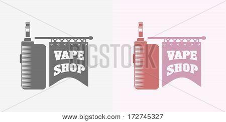 Vape shop logo, symbol or label vector template. Color and monochrome