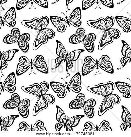 Seamless Tile Pattern, Butterflies Black Silhouettes Isolated on White Background. Vector