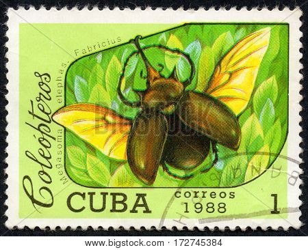 UKRAINE - CIRCA 2017: A stamp printed in Cuba shows Megasoma elephas Fabricius the series Coleoptera circa 1988