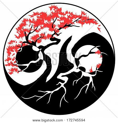 Black and white Bonsai tree in the Yin Yang symbol