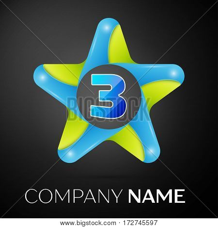 Number three vector logo symbol in the colorful star on black background. Vector template for your design
