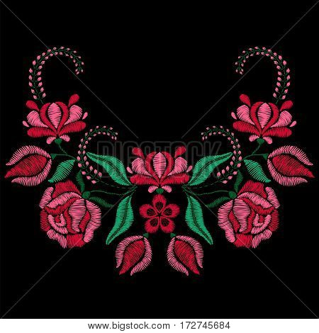 Embroidery with roses, spring flowers. Necklace for fabric, textile floral print. Fashion design for girl wearing decoration. Tradition ornamental pattern. Vector illustration on black background.