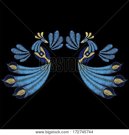 Embroidery with peacock birds for neckline. Template for fabric, textile floral print. Fashion design for decoration. Vector illustration on black background.