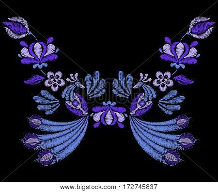 Embroidery with peacock birds, spring indigo flowers. Neckline for fabric, textile floral print. Fashion design for girl wear decoration. Tradition ornamental pattern.